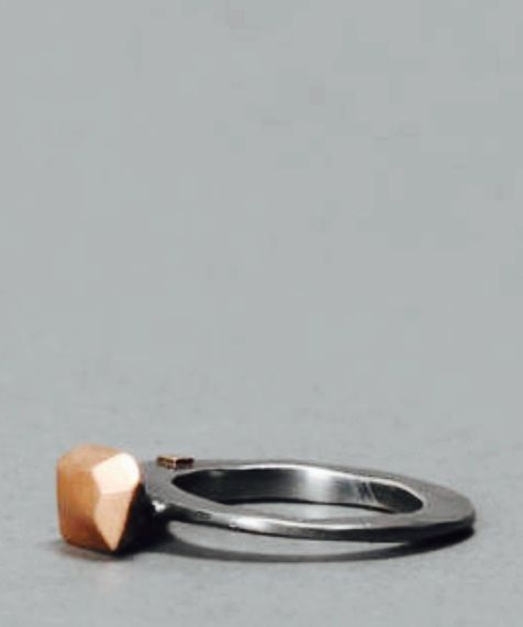 ROSAMARIA SILVER TREATED RING WITH 12KT PINK GOLD TOP
