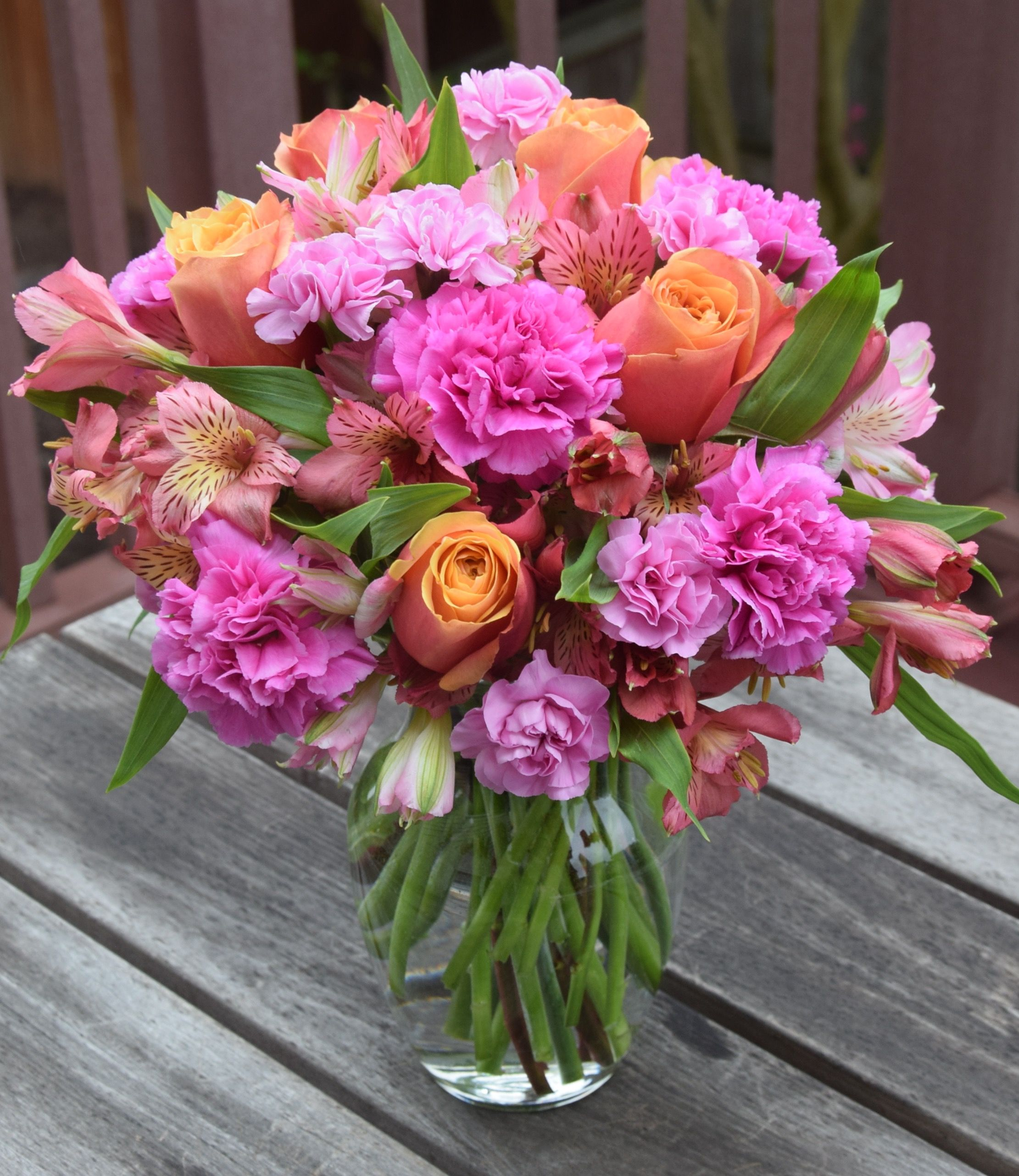 Flower bouquet of roses, alstroemeria, carnations