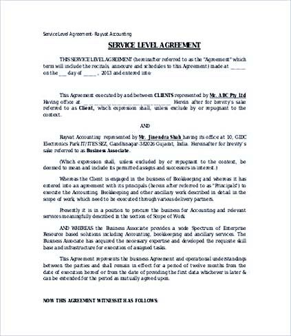Accounting Service Level Agreement Template , Service Level - format of service agreement