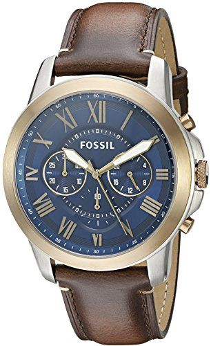 2835e16d586e Now in stock Fossil Men s FS5150 Grant Chronograph Dark Brown Leather Watch