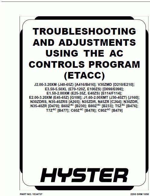 Hyster Electric Motor Narrow Aisle Trucks Repair Manuals