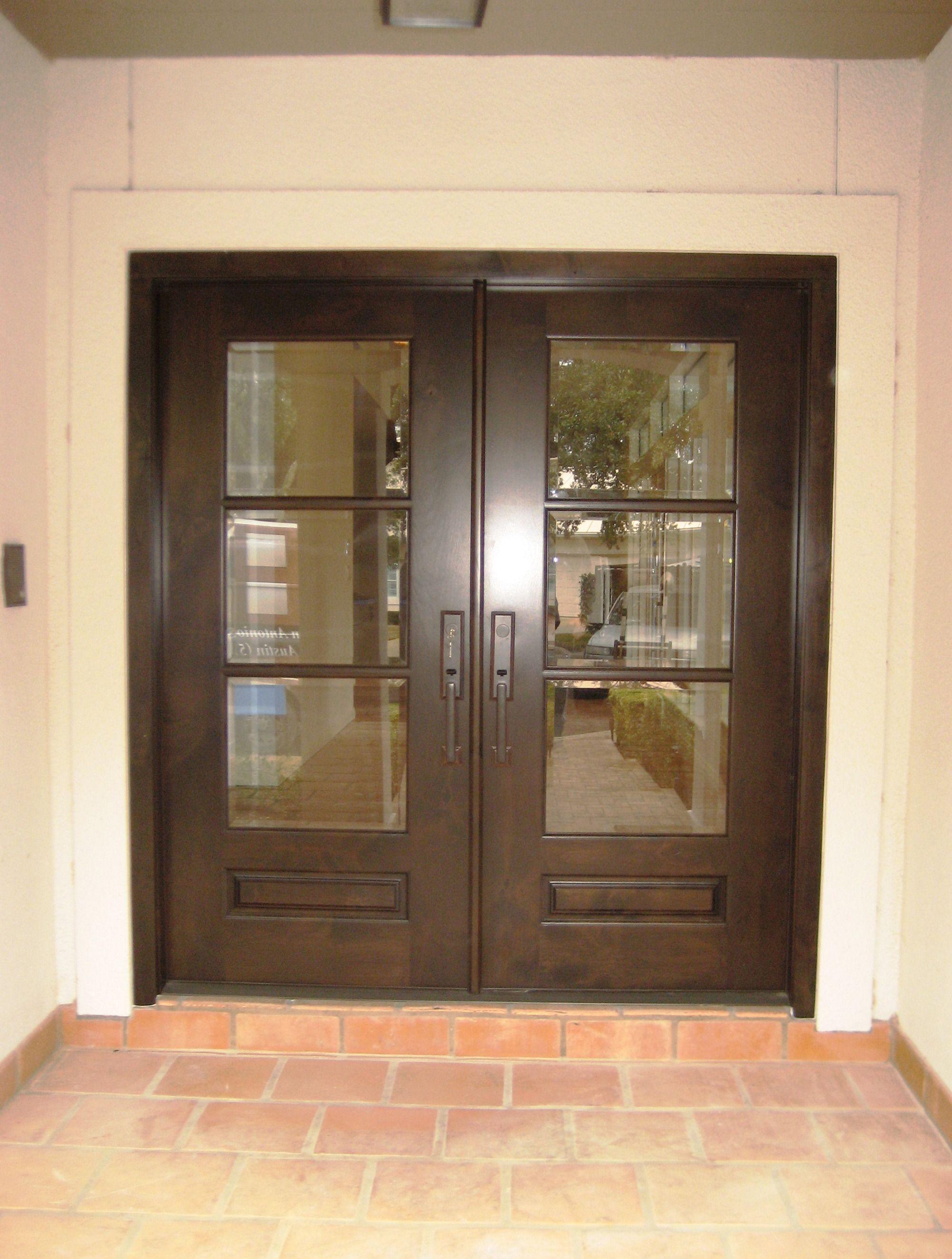 Modern Wood Door: Knotty Alder 3-lite Panel Bottom Double entry Door ...