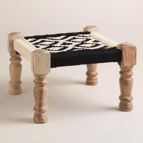 Astonishing Black And White Wood And Fabric Stool World Market Decor Machost Co Dining Chair Design Ideas Machostcouk
