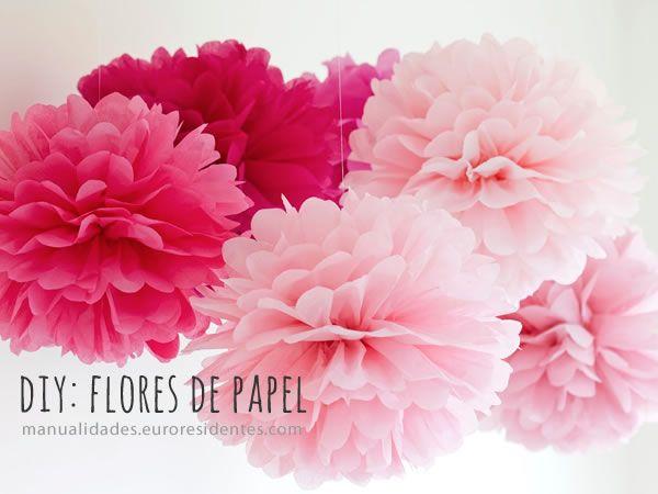 C mo hacer flores o pompones con papel crepe para decorar - Como se hacen rosas de papel ...