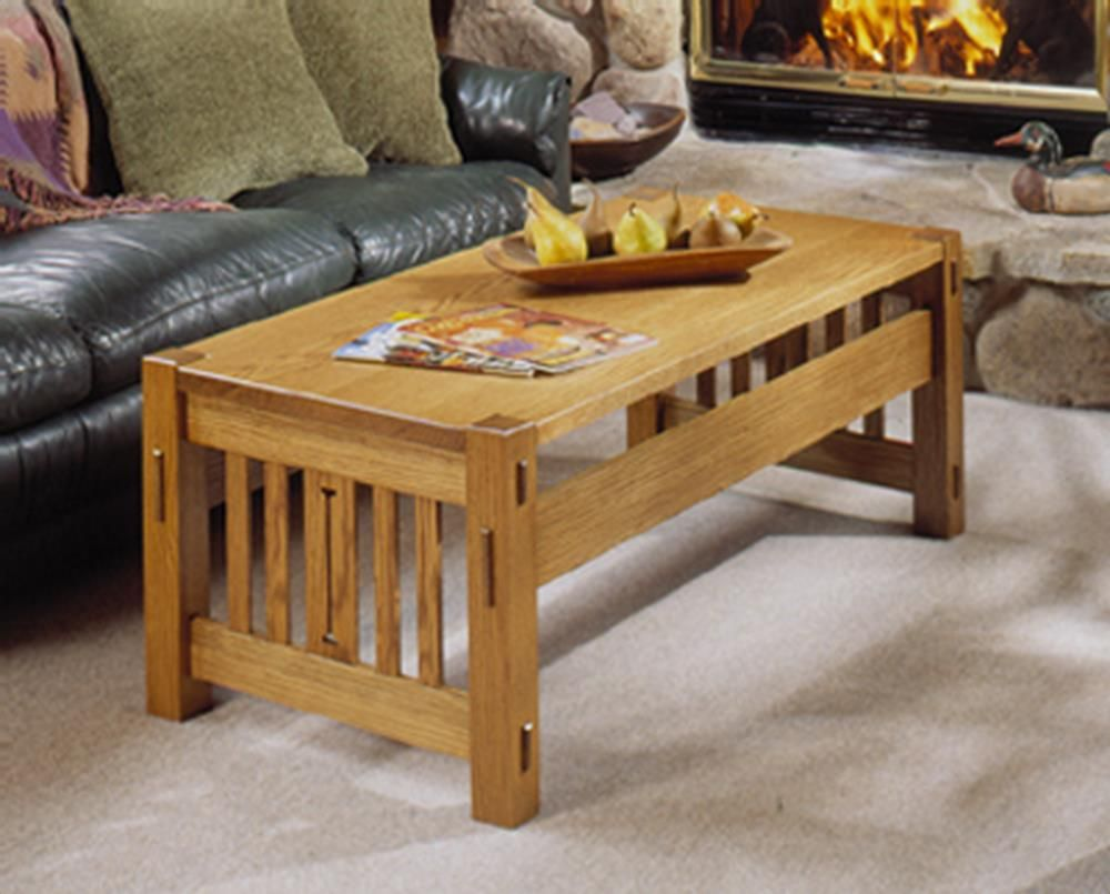 Arts And Crafts Coffee Table And Ottoman Woodworking Plan From