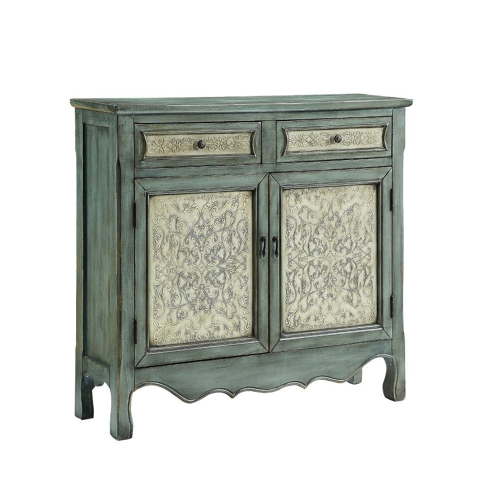 Duncan Cabinet Console Table Antique Blue Powell Company White