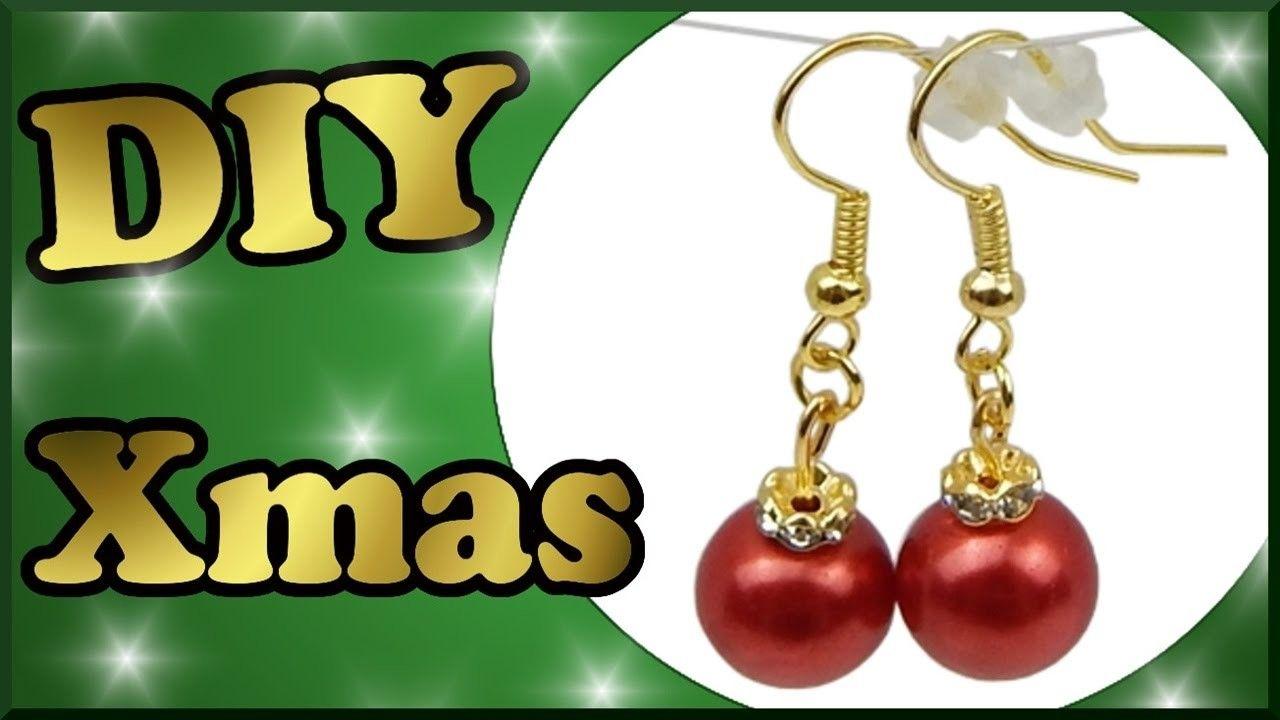 DIY xmas | Weihnachten Perlenohrringe selber basteln | Christmas tree ornaments earrings with pearls