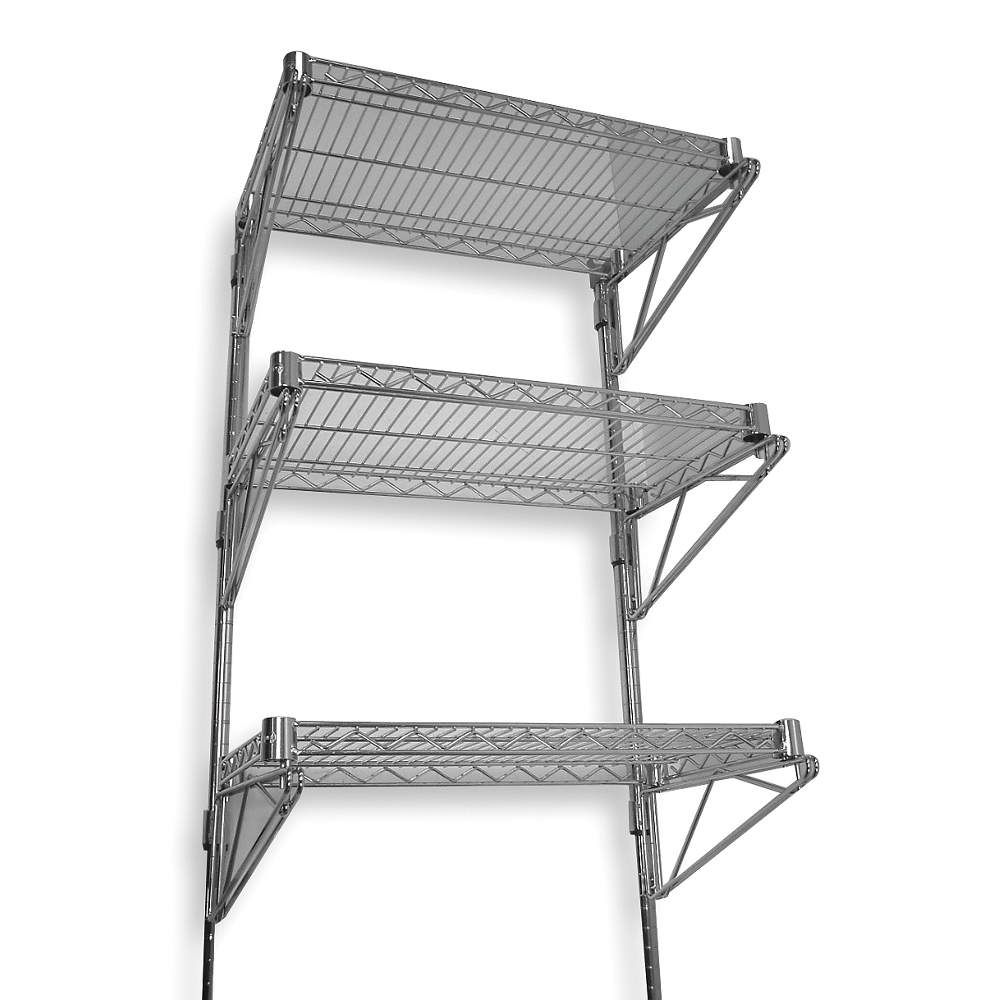 Grainger Approved 60 X 14 X 54 Steel Wall Mounted Wire Shelving Chrome 2hgf4 2hgf4 Grainger Wire Wall Shelf Wall Mounted Wire Shelving Wall Shelves