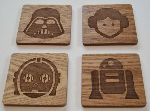 projects design unique coasters. These Star Wars inspired coasters can be bought in etched wood or slate  over at Flollie