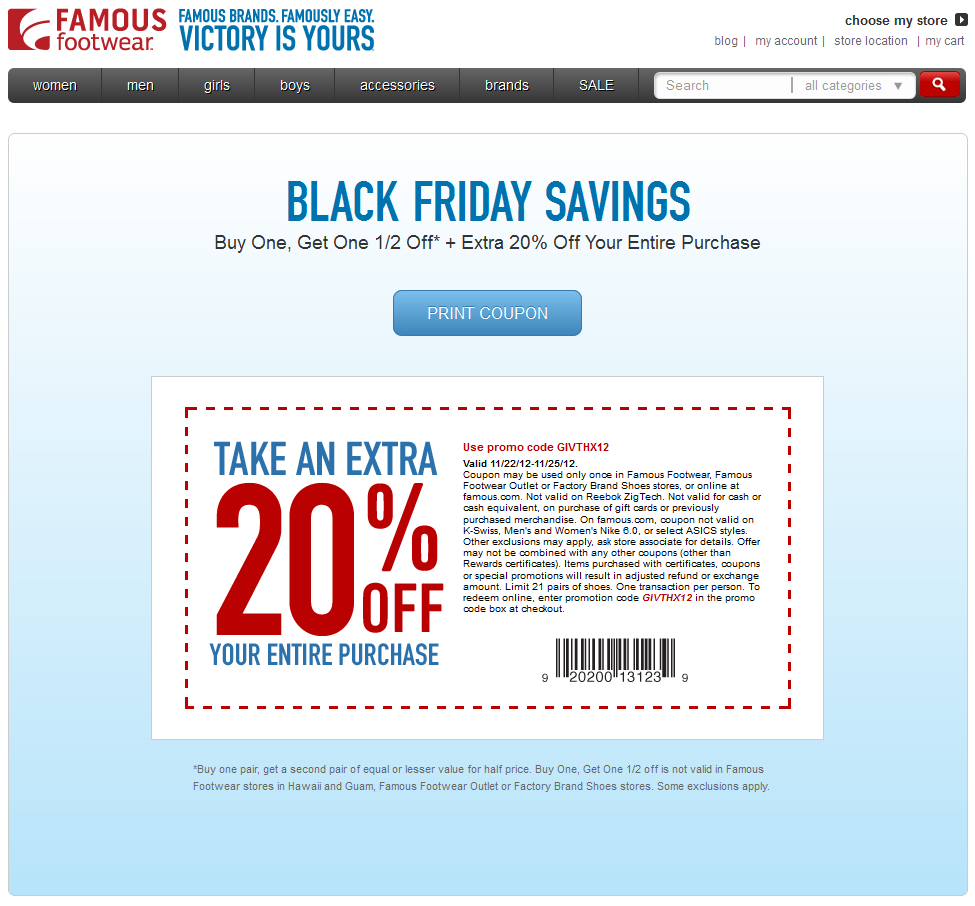 20 Off Everything This Weekend At Famous Footwear Or Online Via Promo Code Givthx12 Coupon Via The Coupons App Print Coupons Coupon Apps Coupons