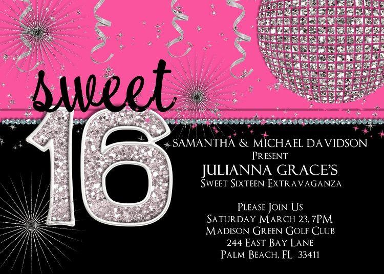 Sweet 16th Birthday Invitations Invitation Card