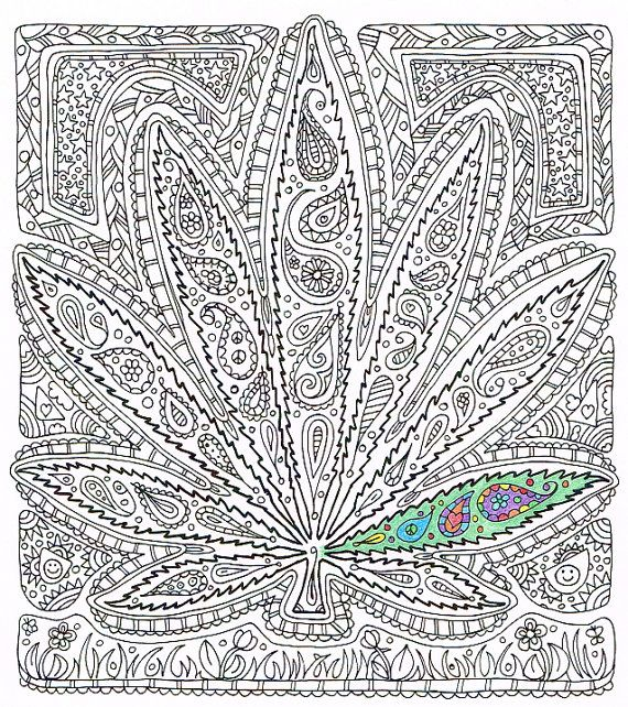 Adult Coloring Page - Got Leaf? - Printable pot leaf coloring page ...