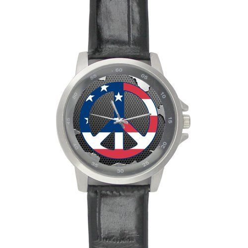 Birthday Gifts Classic Peace Sign Black Leather Alloy High-grade Watch * Trust me, this is great! Click the image. : Travel Gadgets