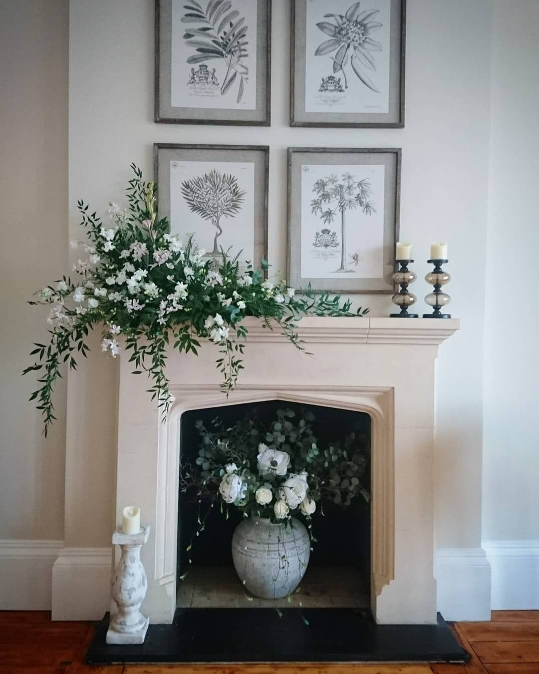 "Chepstow Florist on Instagram: ""Mantelpiece decor @sttewdricshouse today #mantelpiecedecor #sttewdricswedding #fireplace #fireplacedecor #fireplaceflowers…"""