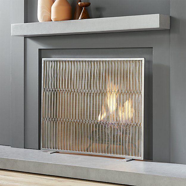 Panes Fireplace Screen Cb2 Modern Fireplace Brick Fireplace Decor Fireplace Screens