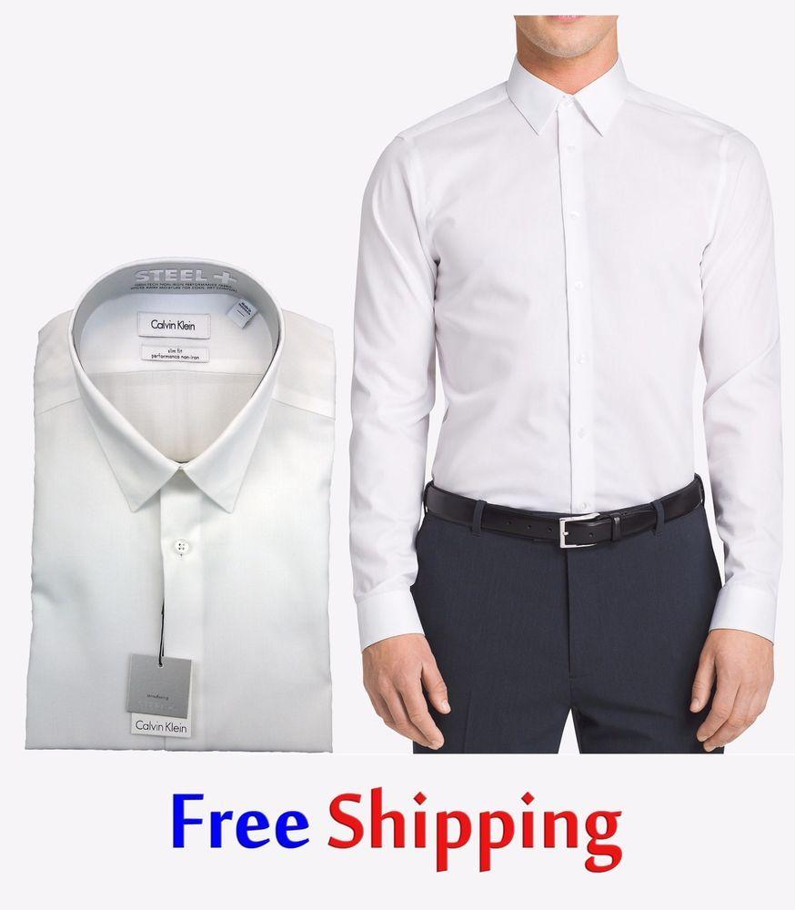 Calvin Klein Mens Non Iron Slim Fit Dress Shirt