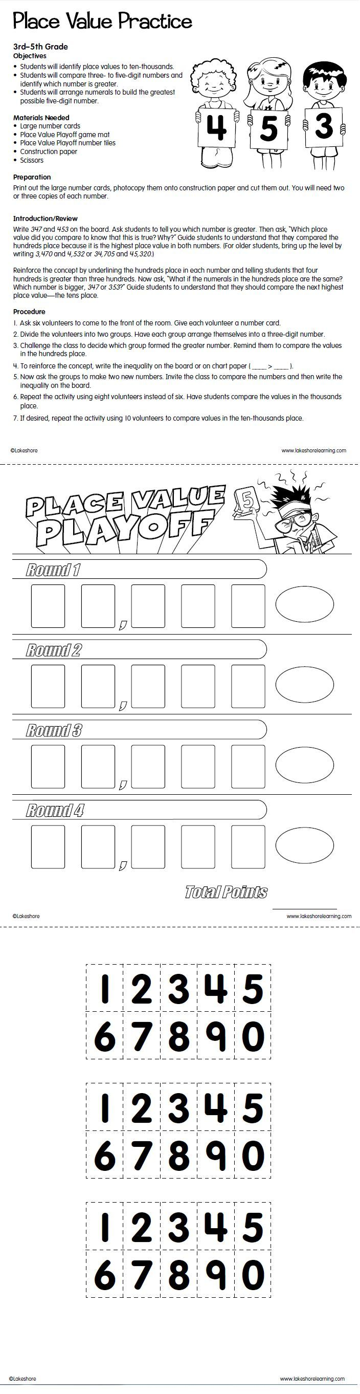 worksheet Place Value Practice get ready for 4th grade with lakeshores free place value practice printable areyouready