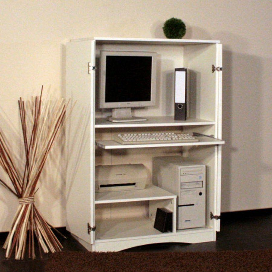 Armoire A Pc Peter Design Compact Avec Portes Blanc Brillant Armoire Bureau Armoire Design