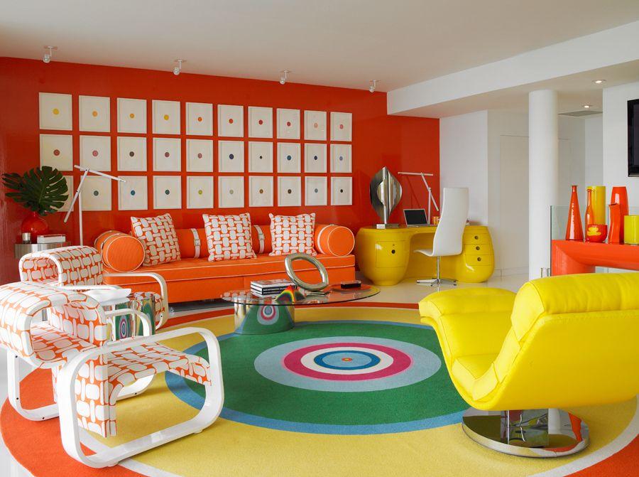 Miami Pop Art Anthony Baratta Retro Interior Design Colorful Room Decor Interior Design #pop #art #living #room