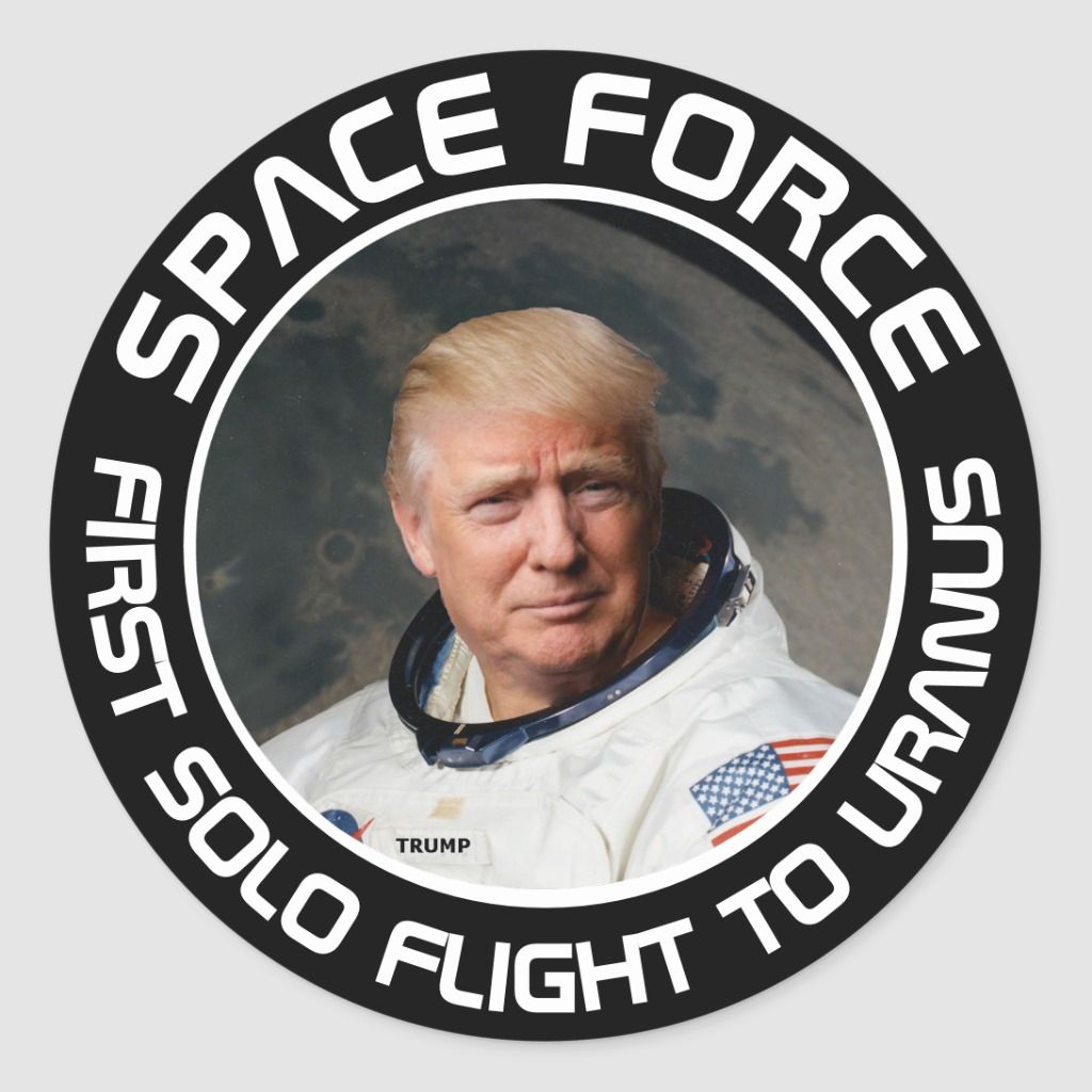 Space Force Trump First Solo Flight Funny Classic Round Sticker