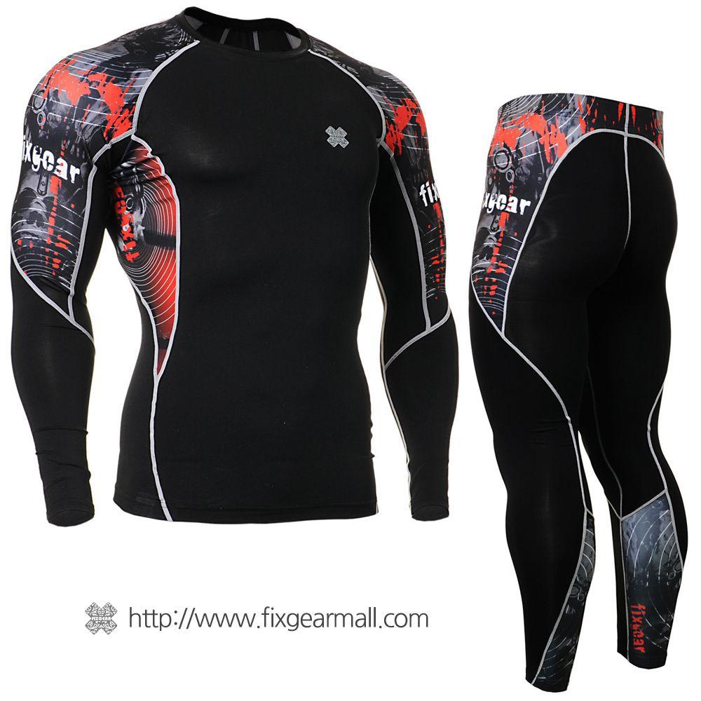 FIXGEAR CPD//P2L-B30 SET Compression Shirts /& Pants Skin-tight MMA Training Gym