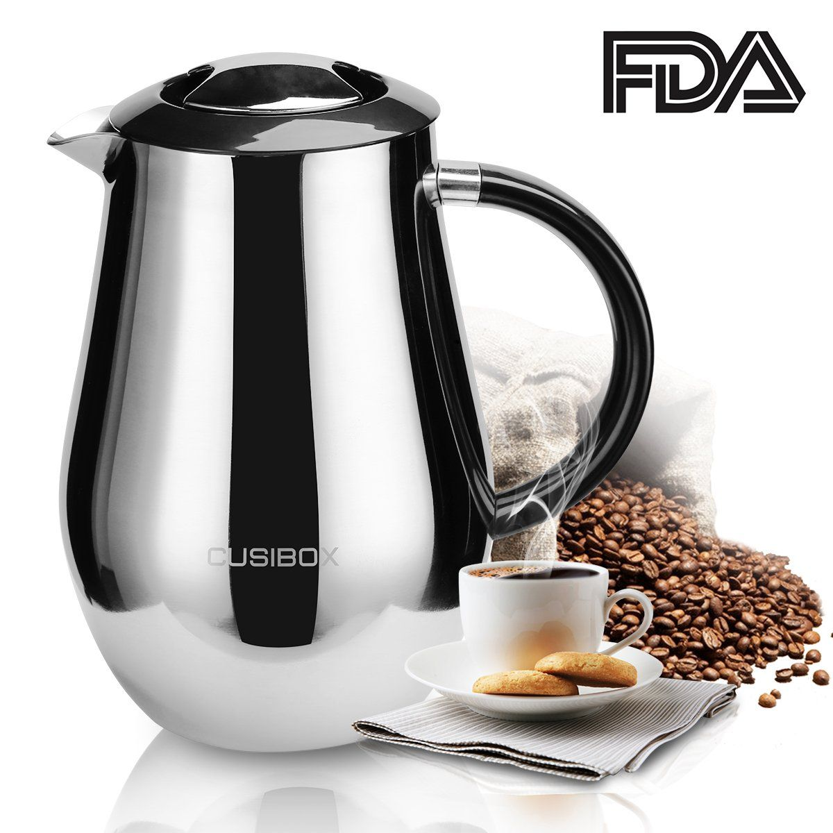 French Press Coffee Maker Large Insulated Filter Bonus Stainless Steel Screen 1