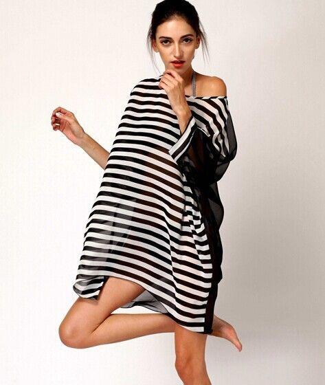 85c1ee2e8e9e8 2017 New Women Casual Loose Long Shirt Chiffon Black White Striped Blouse  Summer Beach Plus Size Blouses Sexy Long Tops Shirts  Affiliate