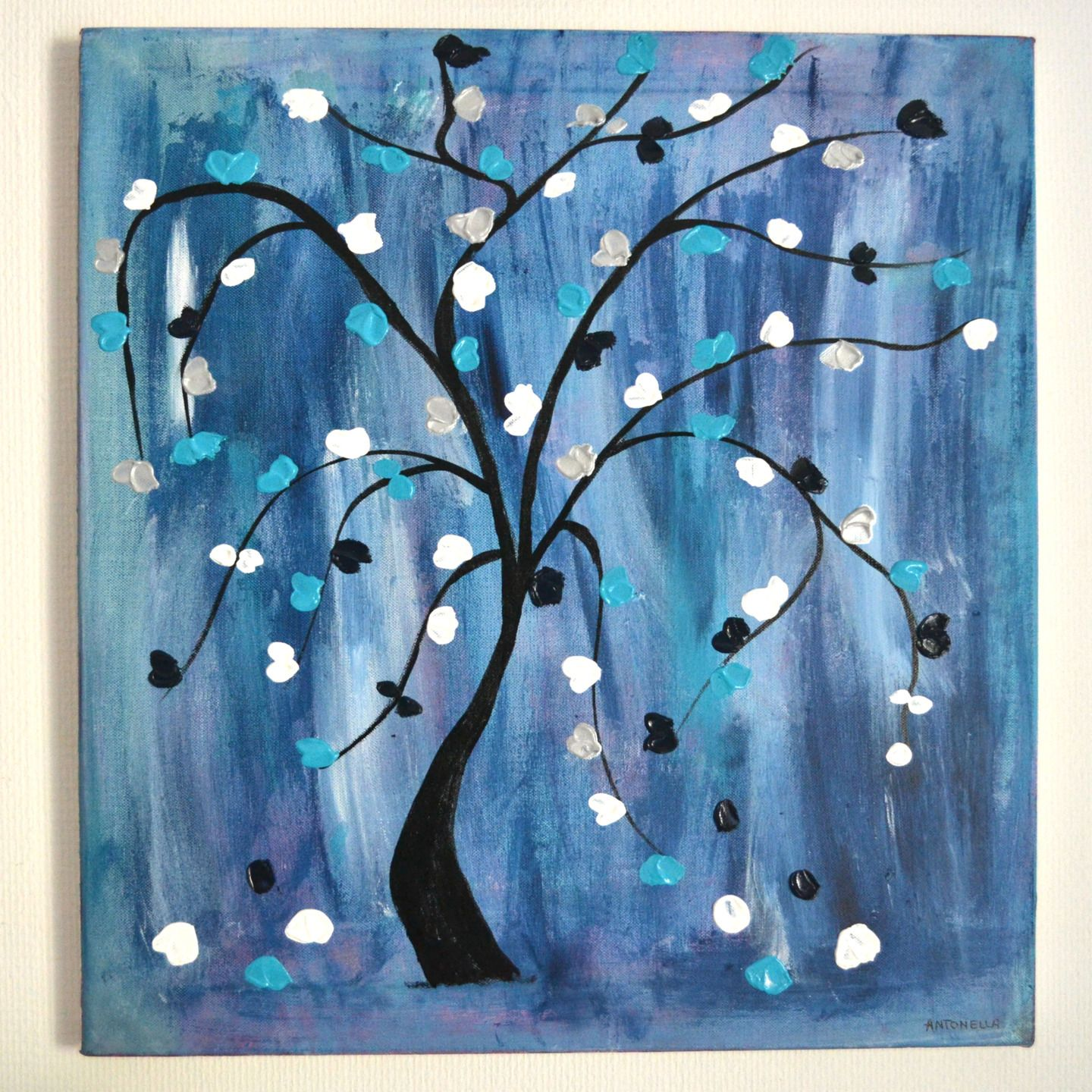 Tableau abstrait bleu art contemporain arbre de vie for Tableau art contemporain