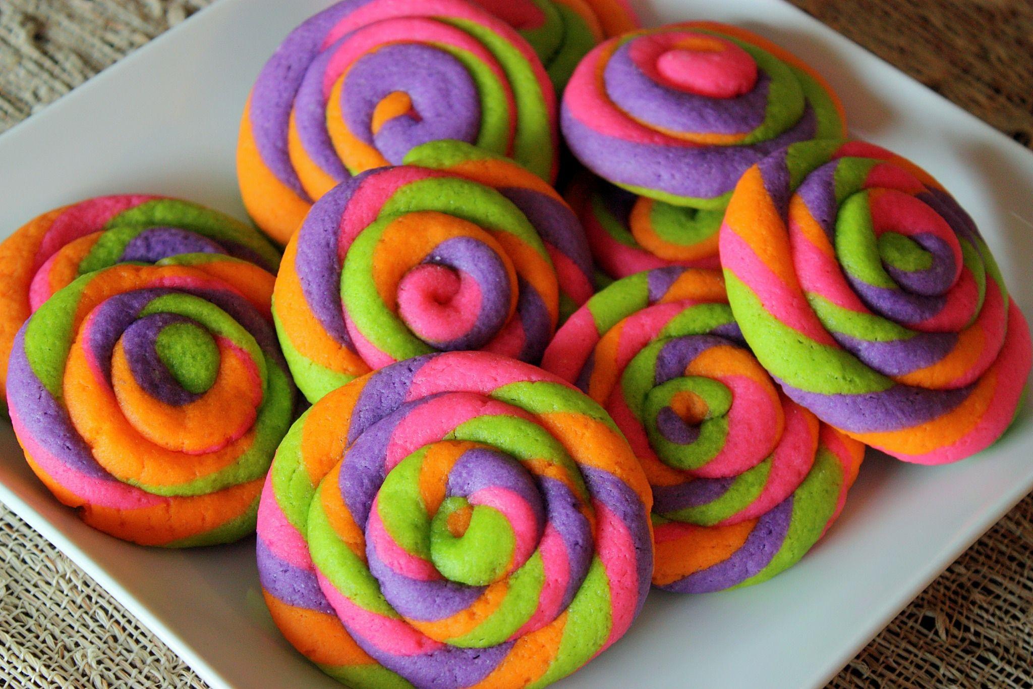 Colorful, pinwheel cookies