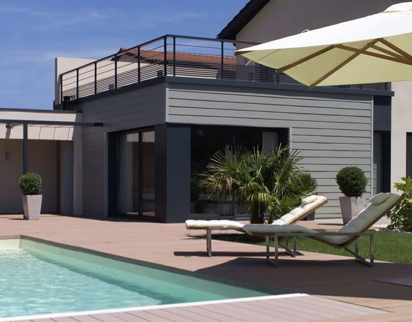 bardage gris extension de maison pinterest bardage. Black Bedroom Furniture Sets. Home Design Ideas