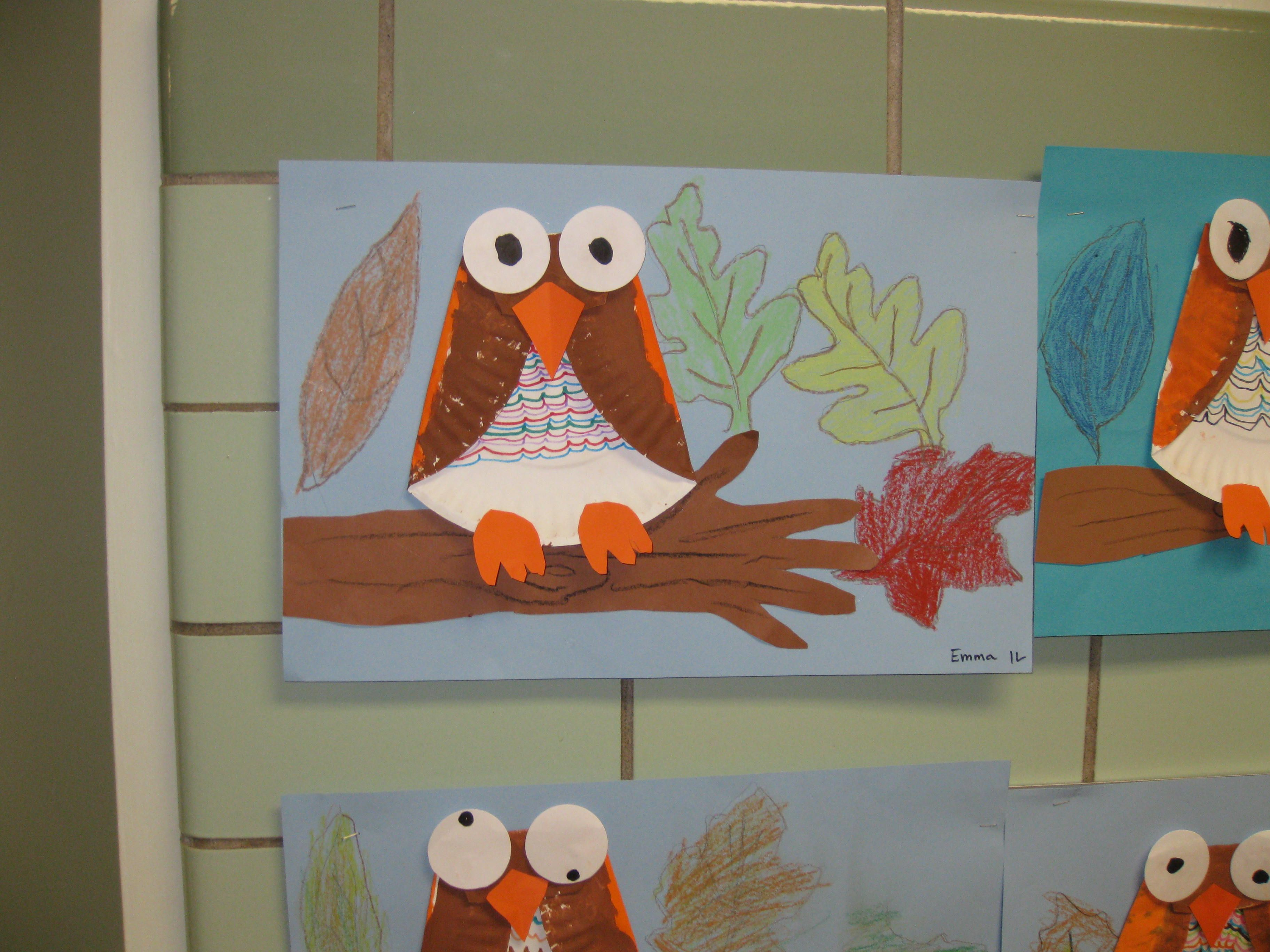 Paper Plate Owl On Arm Branch Grade 1 With Images Fall Art