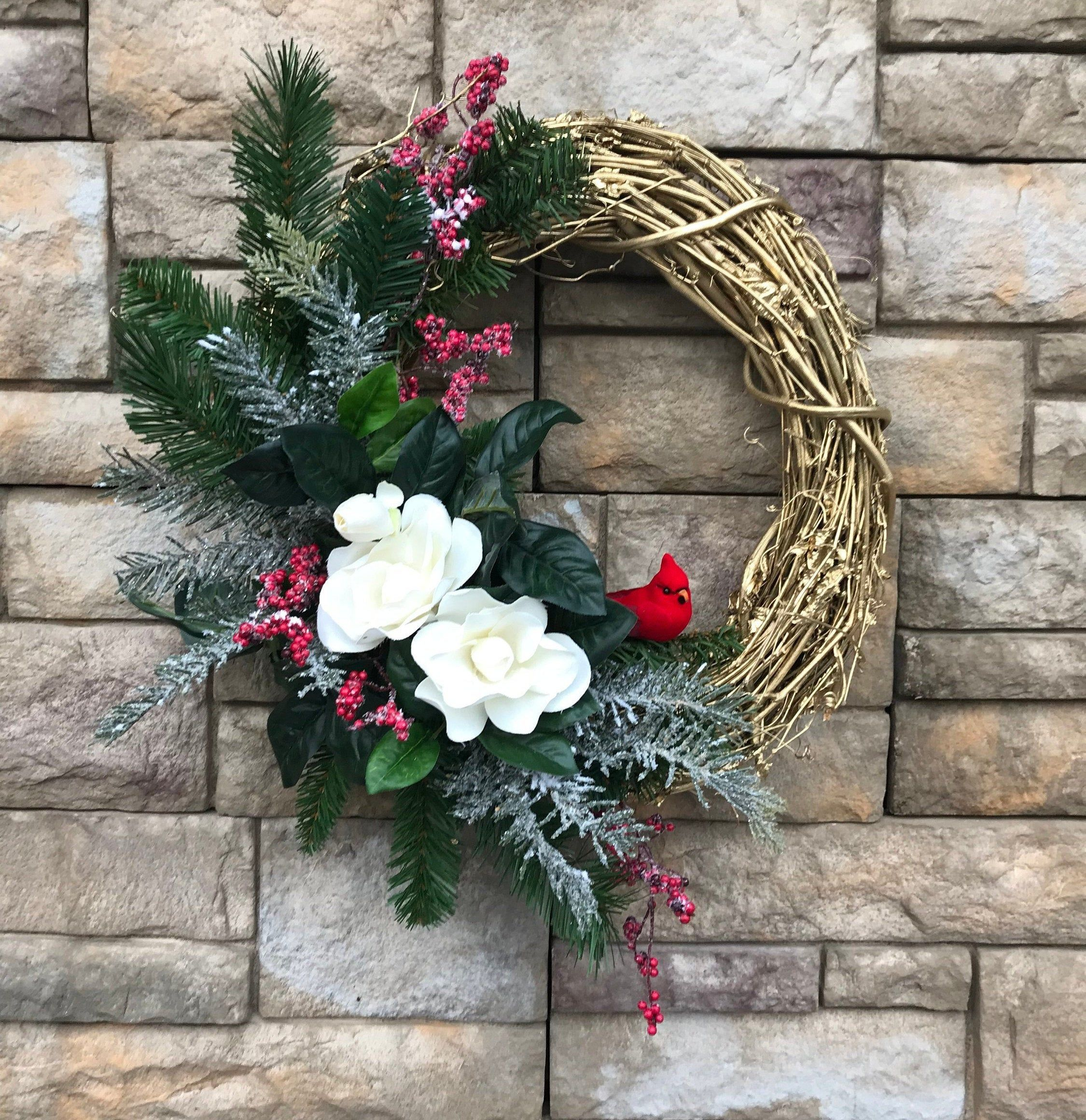 Photo of Gold Vine Winter Magnolia Wreath-Sparkling Holiday Wreath-Magnolia Cardinal Winter Wreath-Shimmering Gold Flocked Wreath-Cardinal Decor