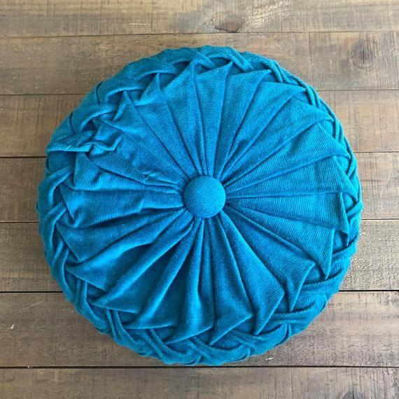 Vintage Blue Corduroy Round Pillow, Blue Pillow, Vintage Smocked Pillow, Round Pillow, Vintage Decor