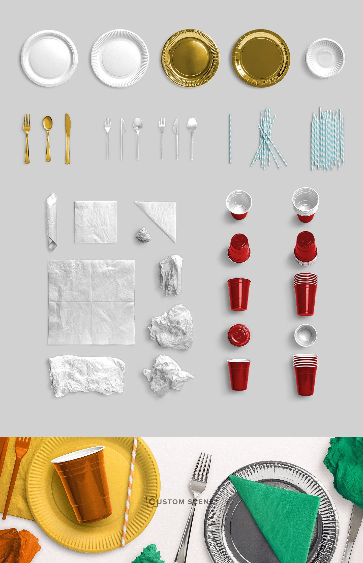 Plates, Cups, Straw, Napkins, Cutlery - Isolated Object - Custom Scene #flatlay #mockup #party