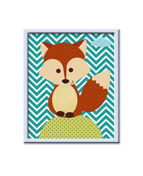Fox Baby Boy Nursery Art Prints Children Wall Art Baby Room Decor ...