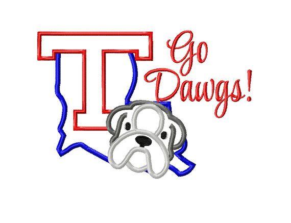 Louisiana Tech Bulldog Go Dawgs Machine Embroidery