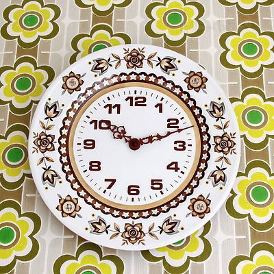 Vintage #1960s/70s #retro #brown flower power tin enamel wall clock - free uk p&p,  View more on the LINK: http://www.zeppy.io/product/gb/2/231910280453/
