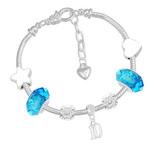 FYI Ensemble carte d\u0027anniversaire licorne avec bracelet à breloques  brillant et élégant pour