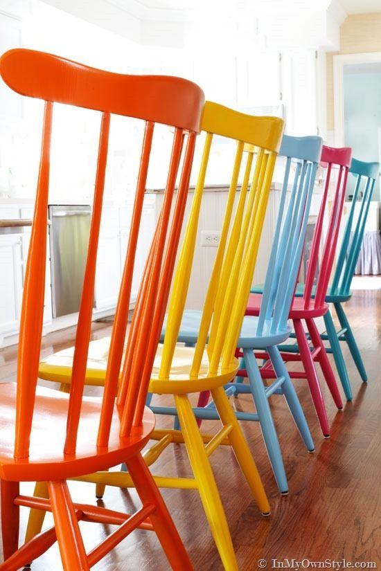 Furniture Makeover Spray Painting Wood Chairs  Painted chairs