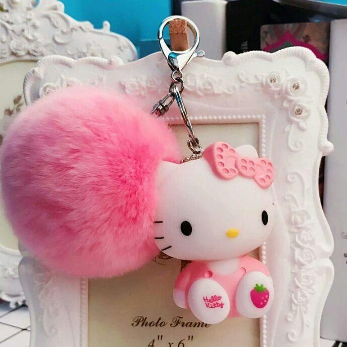 Cute Pussy Cat Diamante Keyring Pink ears Rhinestone Handbag Charm Bling *NEW*