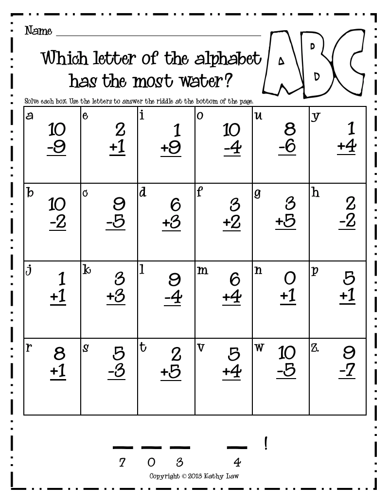 Pages from Riddles for Fun Addition & Subtraction to 10