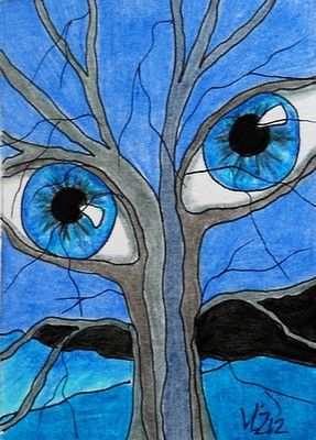 WINTER TREE HAS EYES ACEO ON EBAY