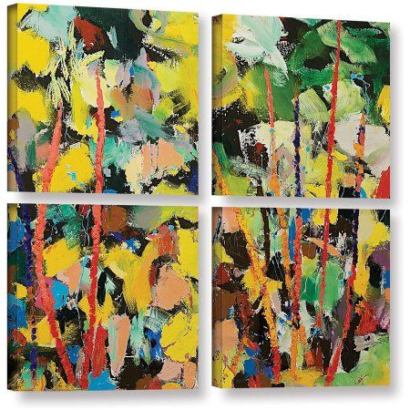 Artwall Allan Friedlander Airglow 4 Piece Gallery Wrapped Canvas Square Set Size 48 X 48 Green Canvas Wall Art Gallery Wrap Canvas Painting Prints