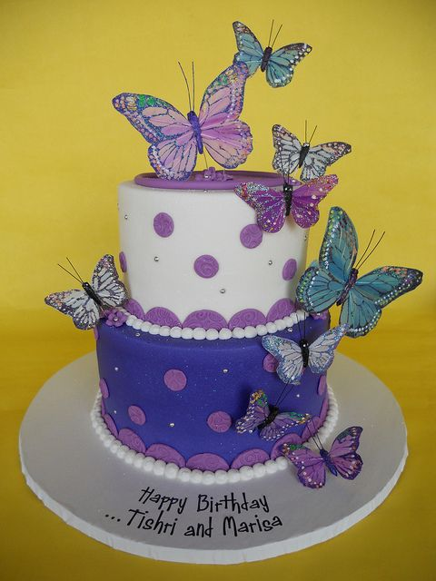 Pretty Purple Butterflies Birthday Cake