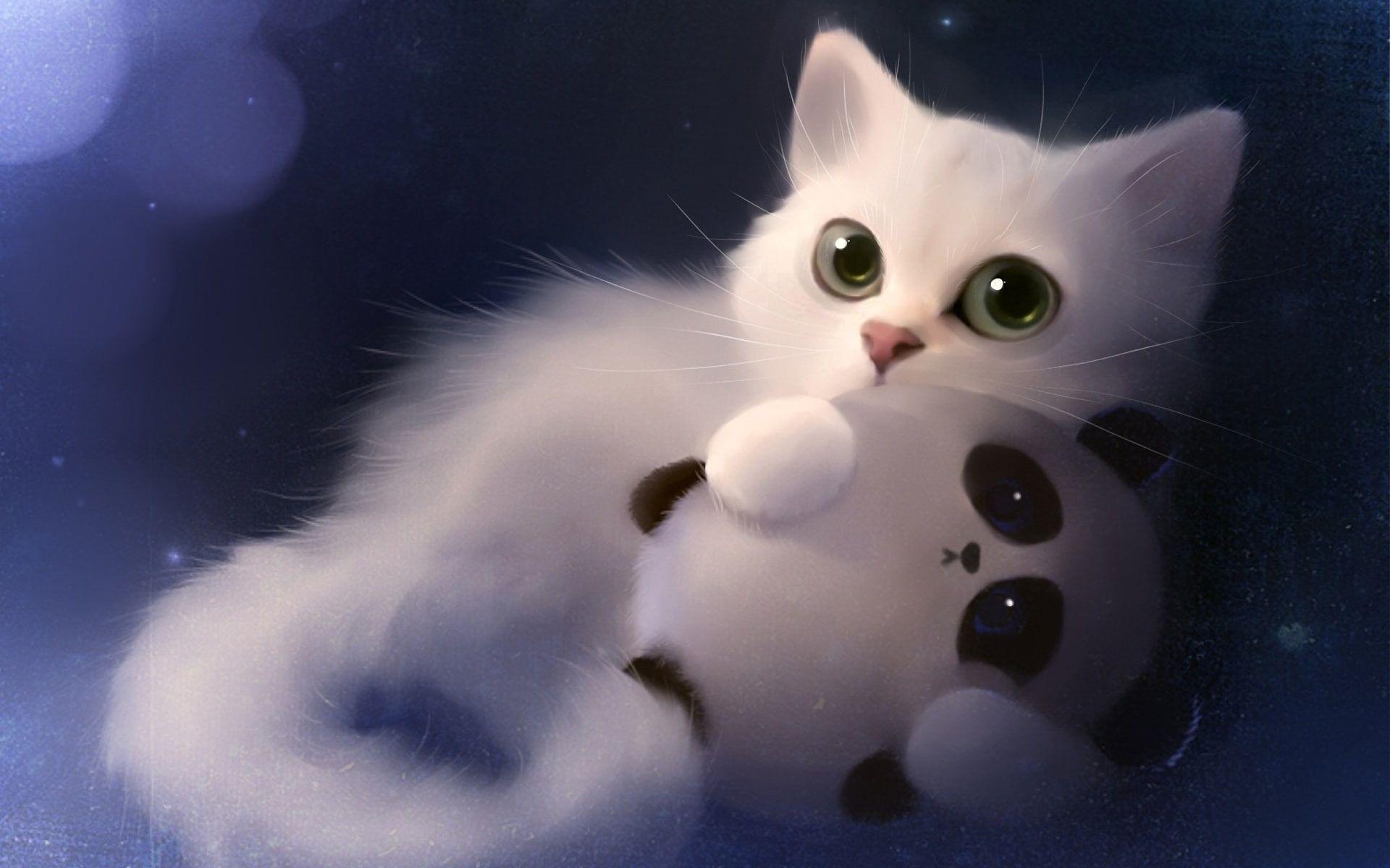 Art Painting White Cat And Toy Panda Art Painting White Cat Toy Panda 1080p Wallpaper Hdwallpap In 2021 Hd Cute Wallpapers Cute Laptop Wallpaper Cat Wallpaper Cute kitty hd wallpaper