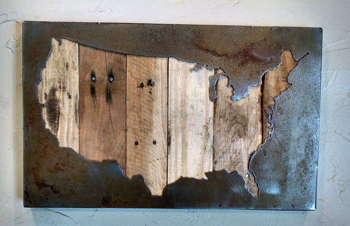 Us Map Artwork.United States Map Usa Map Us Map Metal Art Reclaimed Wood