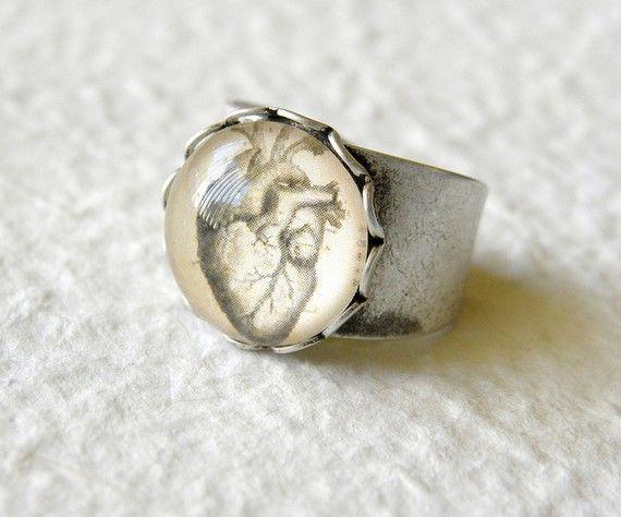 Vintage Anatomy Anatomical Heart Ring by TheGreenDaisyShop on Etsy, $15.00