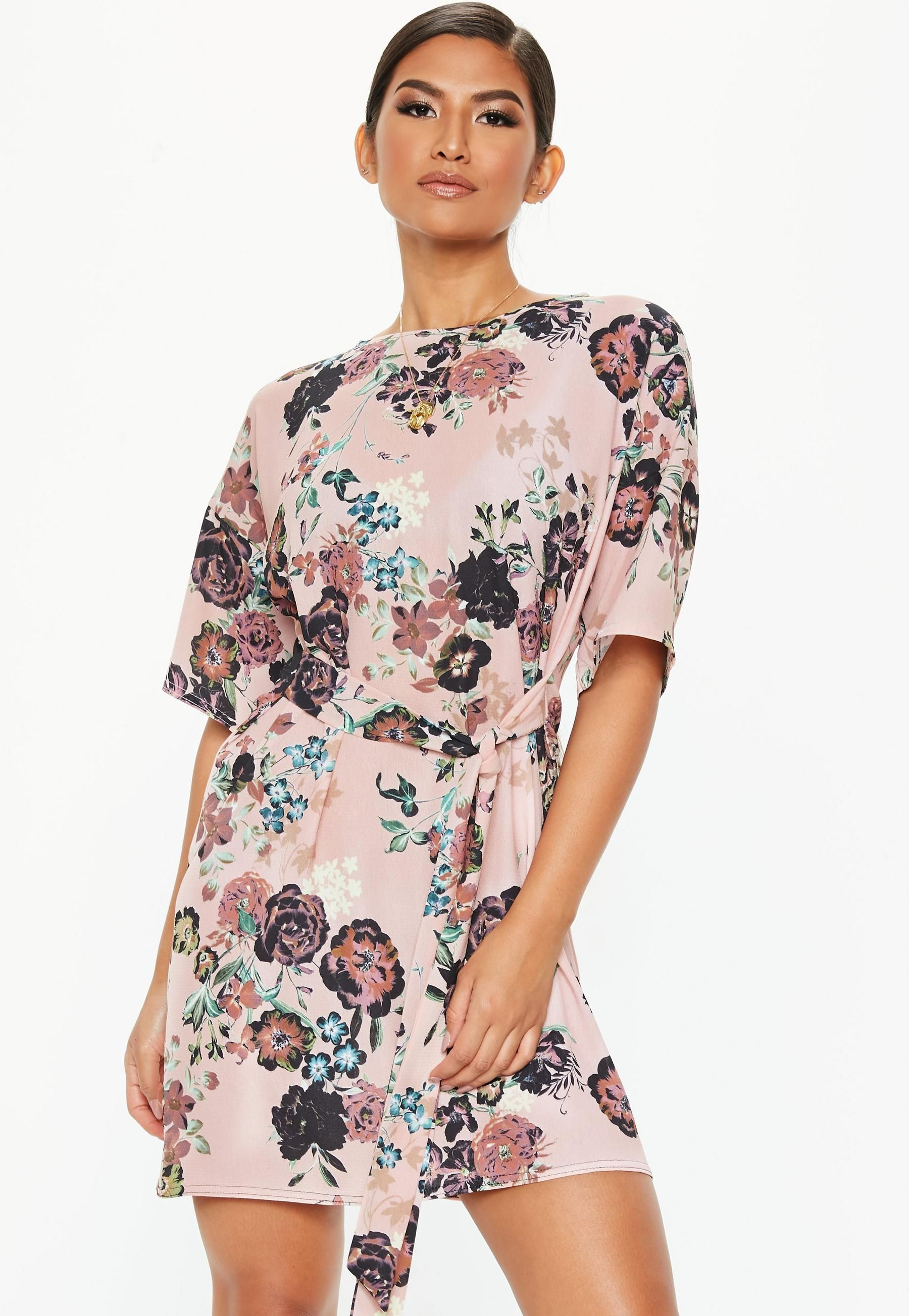 Pink Tie Waist Floral T-Shirt Dress in 2018  ef57891d7