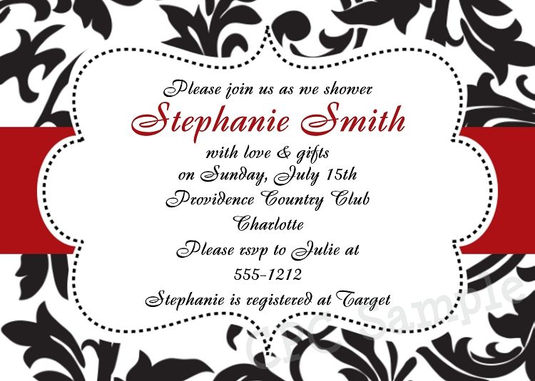 Black White Red Damask Shower Invitation Printable Digital