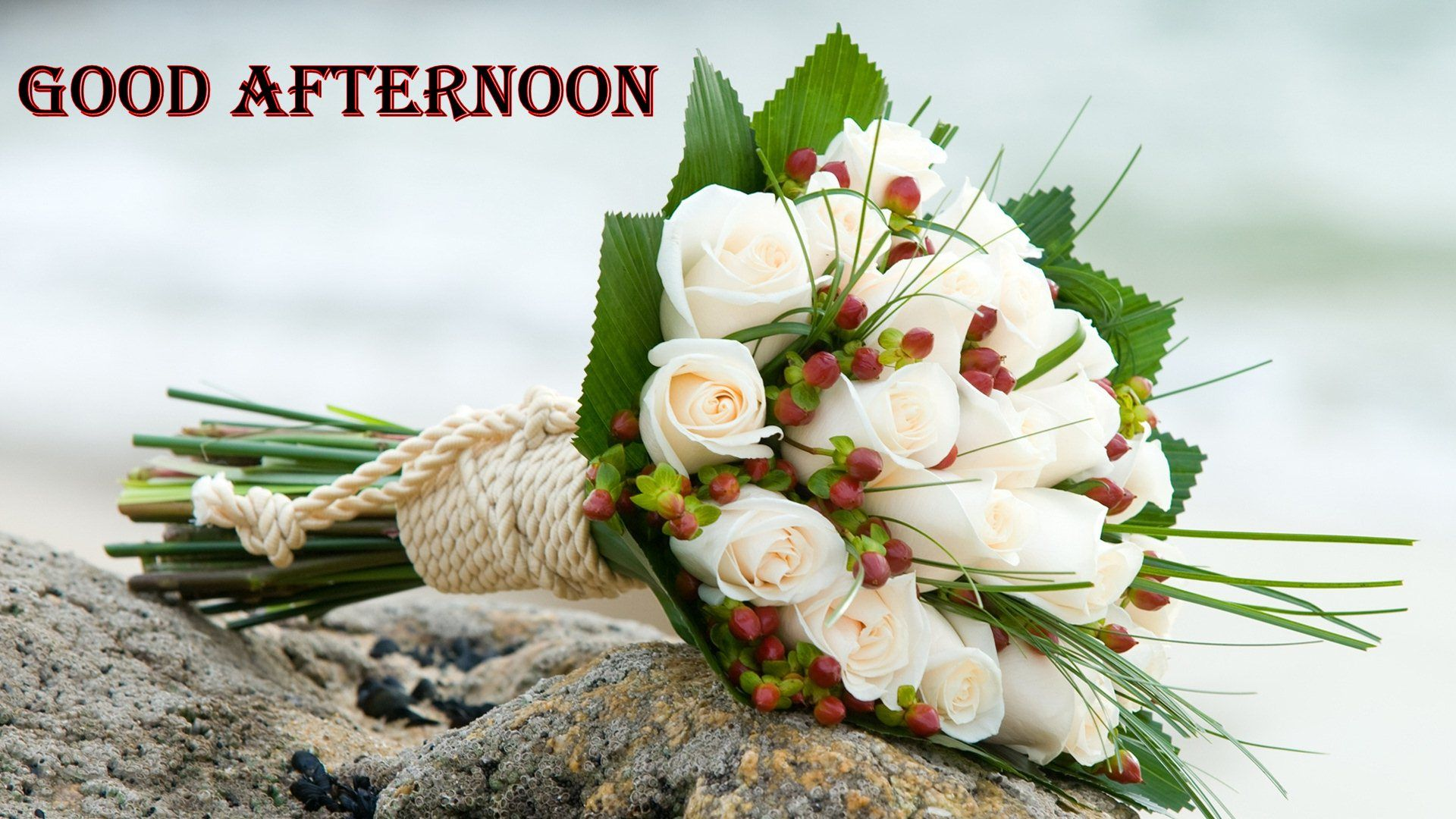 Good Afternoon White Roses Flower Bunch Hd Wallpaper 03191 Hd